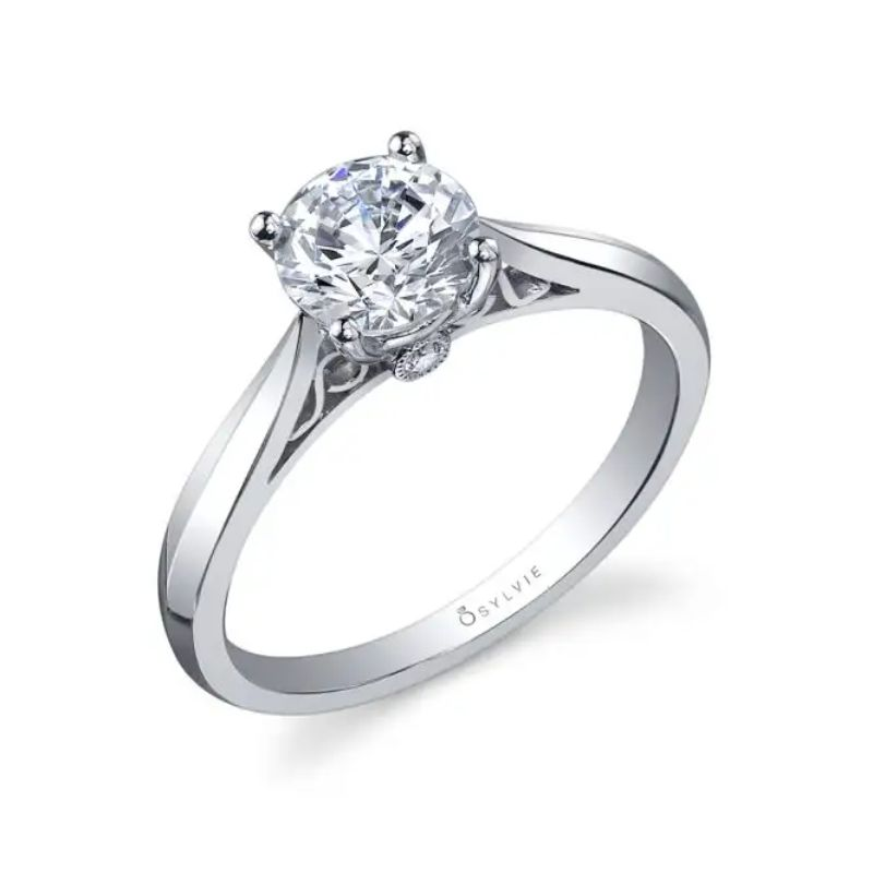 Round High Polish Solitaire Engagement Ring - Carina