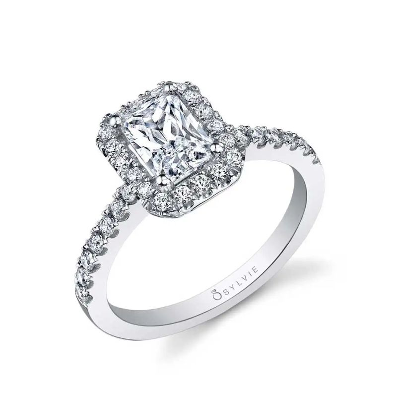 East-West Emerald Engagement Ring With Halo - Chantelle