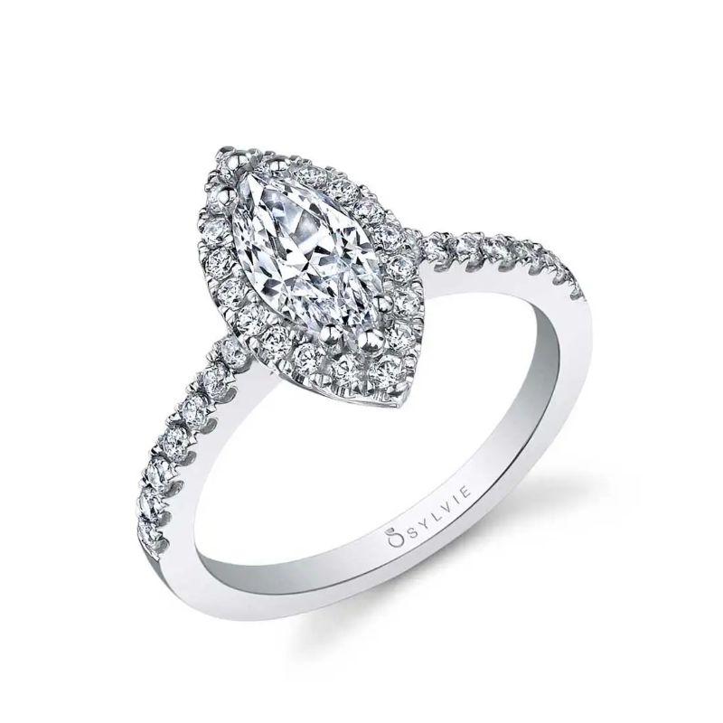 Marquise Shaped Halo Engagement Ring - Chantelle