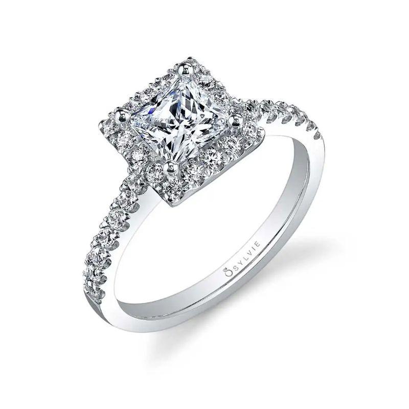 Princess Cut Halo Engagement Ring - Chantelle