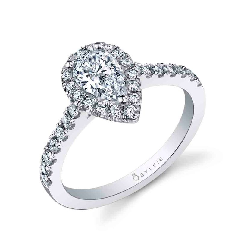 Pear Shaped Halo Engagement Ring - Chantelle