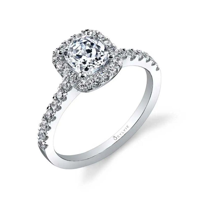 Cushion Halo Engagement Ring - Chantelle